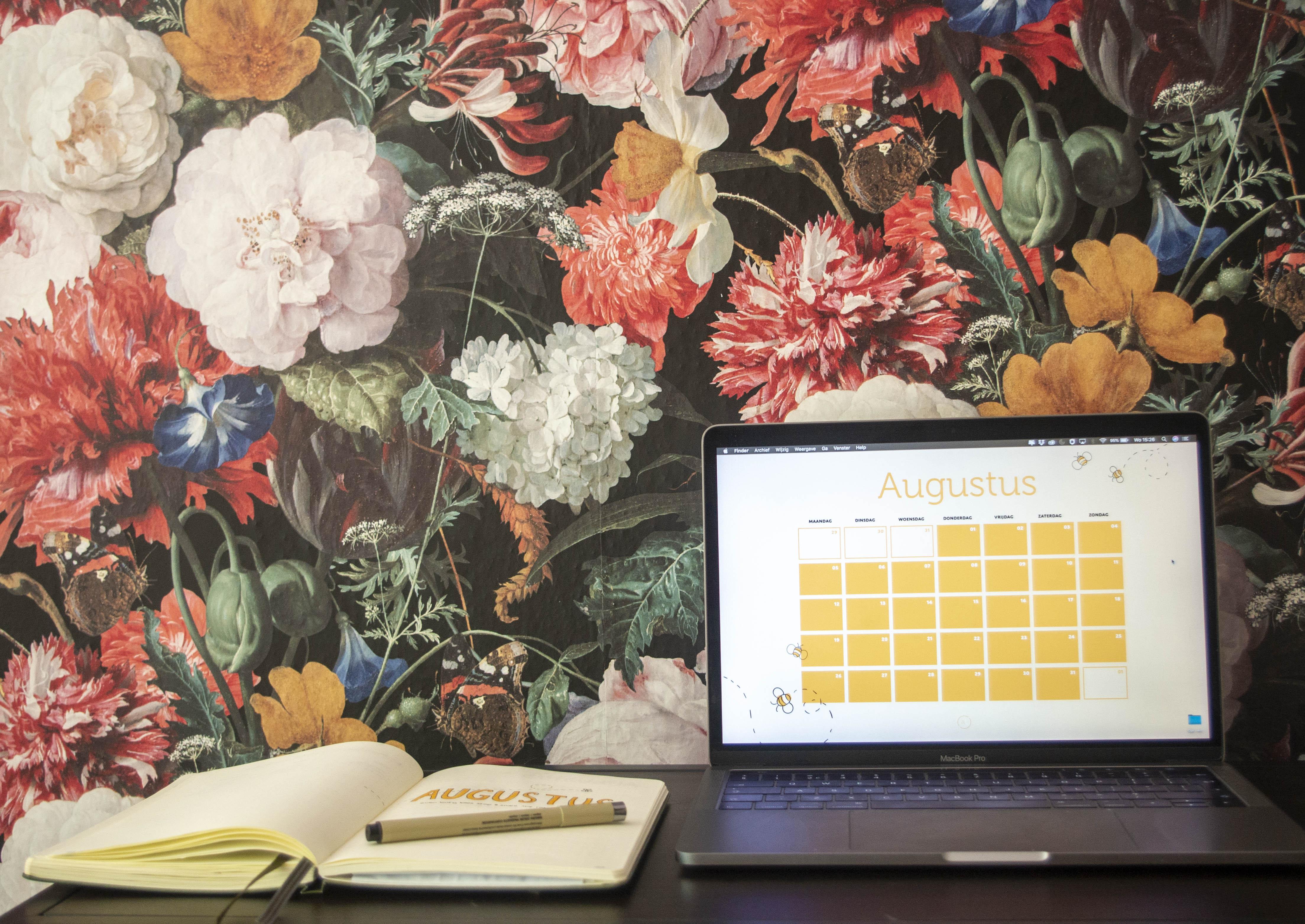 Kalender op laptop
