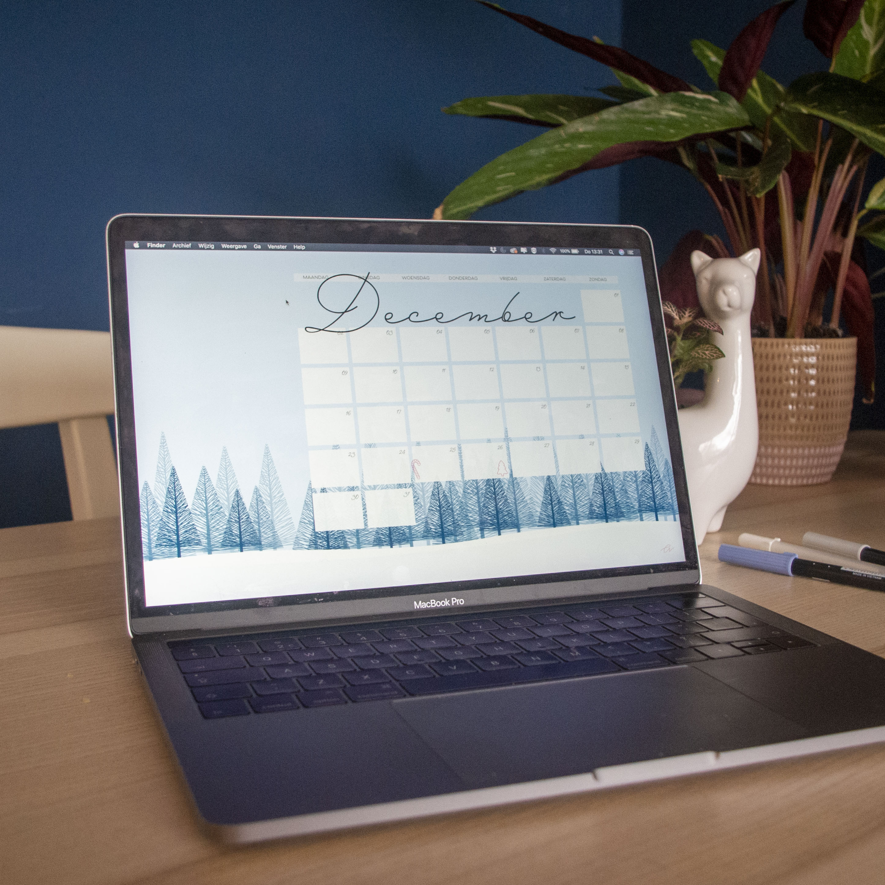 Kalender december laptop