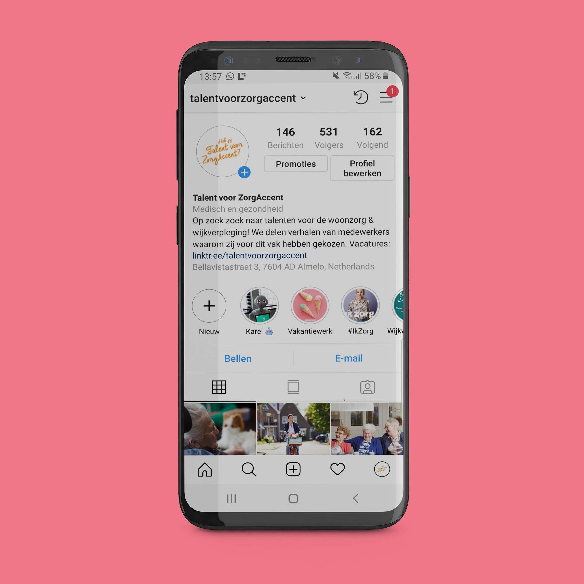 Instagram feed ontwerp Talent voor ZorgAccent